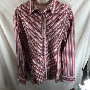 DCC Missy Womens Sz XL Button Up Striped Shirt